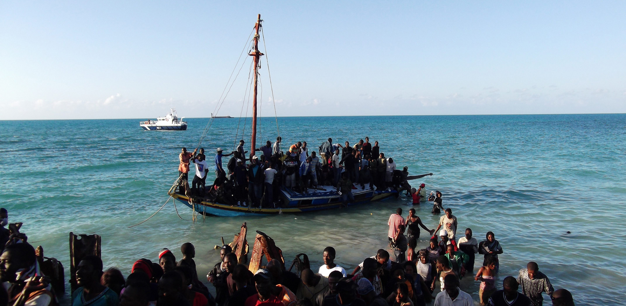 Refugees on a boat at sea