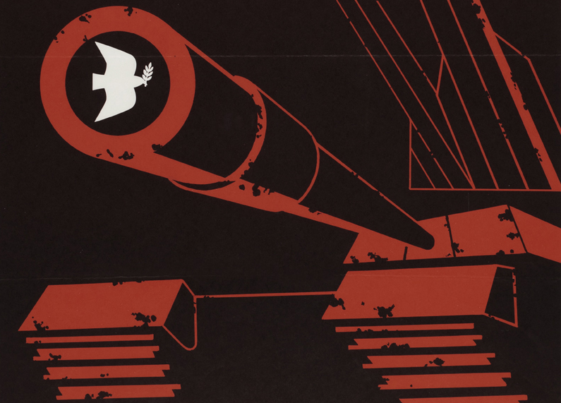 Detail from 'Arms sales' poster showing bomb pointing at a woman and child