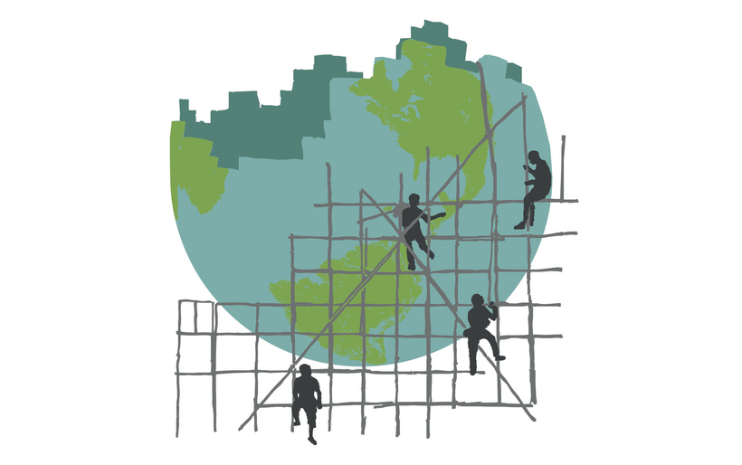 graphic of people building a world