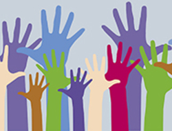 Graphic of voting hands