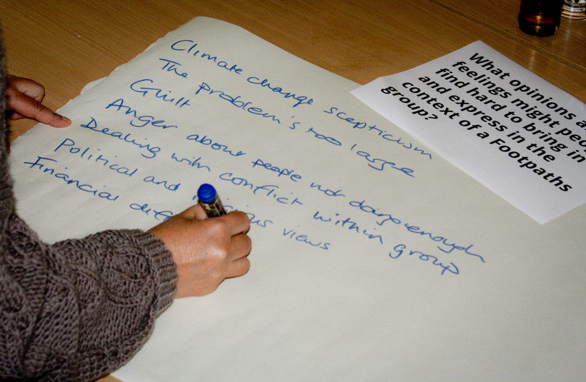 A person writing on flipchart paper