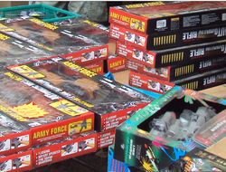 Stacks of toy assault rifles in boxes on sale