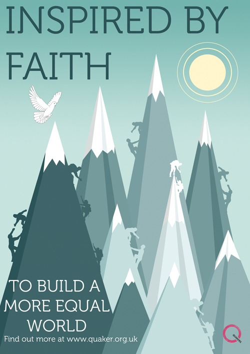 Poster captioned 'inspired by faith to build a more equal world' float:=
