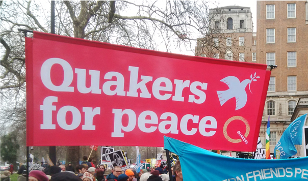 Banner at demonstration reads Quakers for Peace