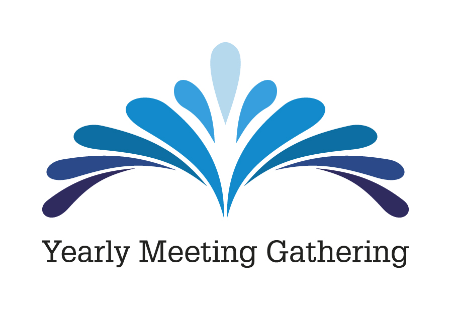 Yearly Meeting Gathering logo - a splash in a pond