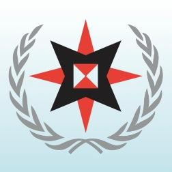 Quaker United Nations Office logo - 8-point star in a laurel wreath