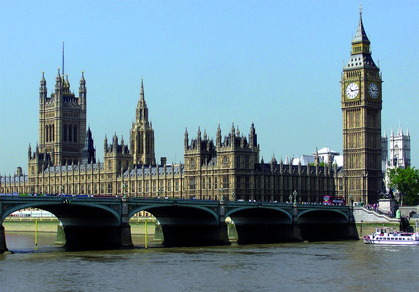 By the River Thames, the houses of parliament and Westminster Bridge where the attacks took place