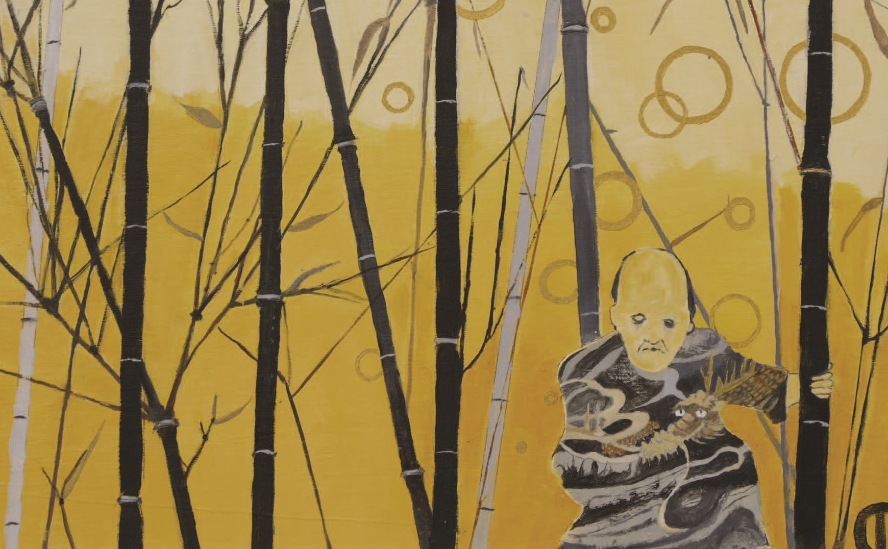 Painting of a man standing amongst bamboo canes looking sad