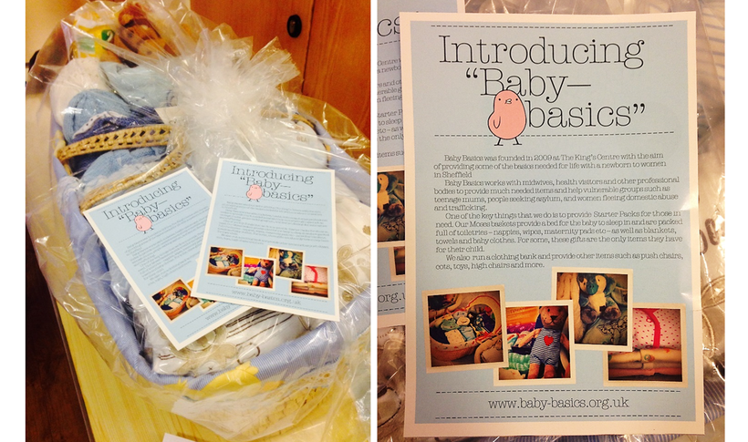 A Moses basket filled with items for children and a copy of a leaflet about 'Baby Basics'