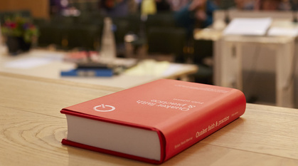 Quaker faith & practice on a table at Meeting for Sufferings