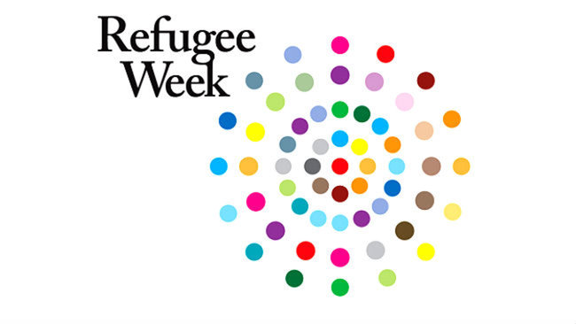 Refugee Week logo: different colour dots in concentric circles