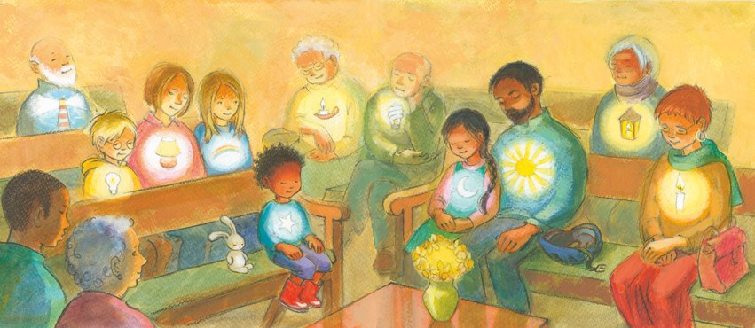 drawing of an all-age meeting for worship with different lights inside each person