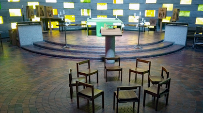 Worship space with chairs and chapel