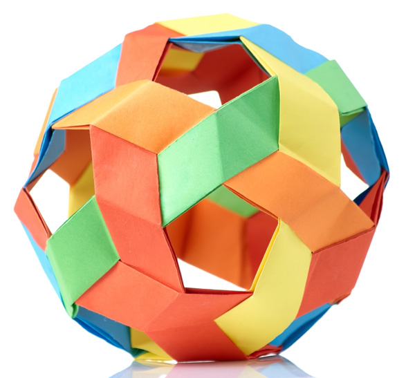 brightly coloured paper ball