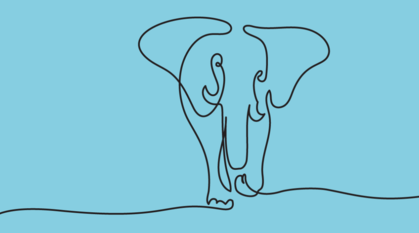 a soft blue background with a simple line pencil drawing of an elephant in a continuous line