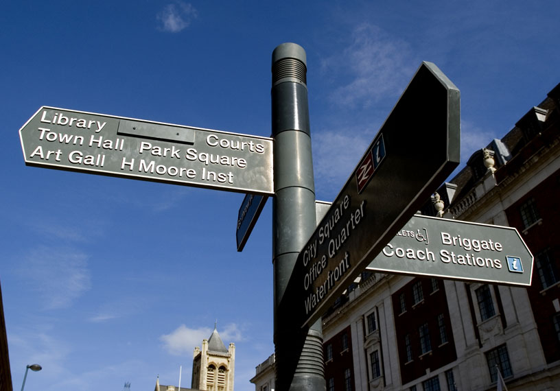 Leeds city centre signpost