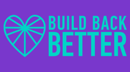 teal writing on purple background saying 'build back better'